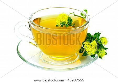 Herbal Tea With Flowers Rhodiola Rosea On Saucer