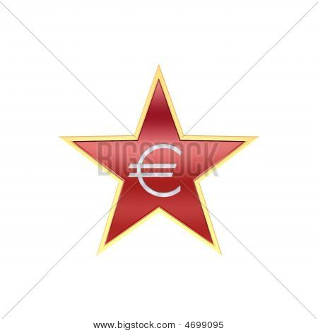 Chrome Euro Sign In The Star Isolated On White.