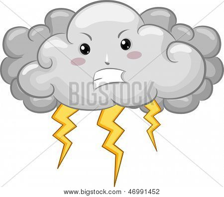 Illustration of Angry Cloud Mascot with Lightning