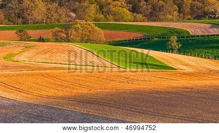 Farm Fields And Rolling Hills Of Southern York County, Pennsylvania.