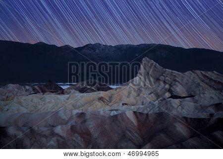 Zabriskie Point star trails, Death Valley, California, USA