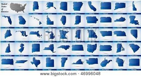 icons in form of all states of the USA