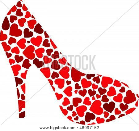 Red Stiletto with hearts