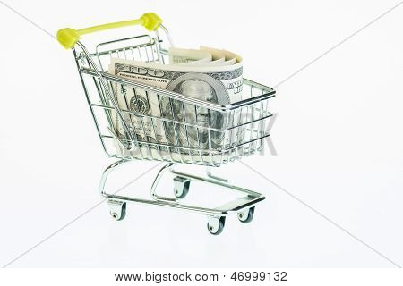 US One Hundred Dollar Bills In Shopping Cart