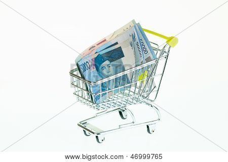 Indonesian Rupiah In Shopping Trolley