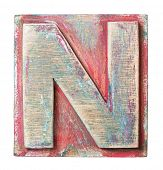 image of letter n  - Wooden alphabet block - JPG
