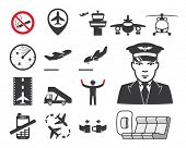 stock photo of cabin crew  - Airport icons set - JPG