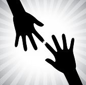 Concept Vector Graphic- Two Hand Silhouettes Touching Each Other