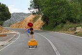 image of mudslide  - Red traffic light for road works diversion - JPG