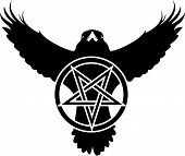 Raven pentagram crow star