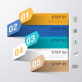 foto of origami  - Abstract business process infographics template - JPG