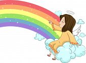 foto of cherubim  - Illustration of a Laughing Girl Angel Sitting on a Cloud and Pointing on a Rainbow - JPG