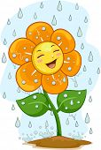 Illustration of a Happy Flower Mascot Under the Rain
