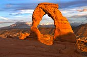 picture of arch  - Delicate Arch against Beautiful Sunset Sky  - JPG