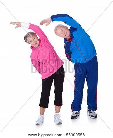 Portrait Of A Senior Couple Exercising