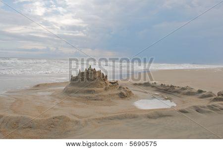 Sand Castle at the Beach.