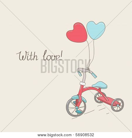 Tricycle And Two Heart-shaped Balloons. Vintage Greetings Card. Hand Written Text.