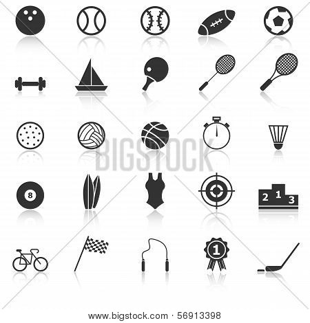 Sport Icons With Reflect On White Background