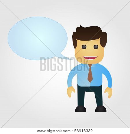 Business man cartoon with speech balloon