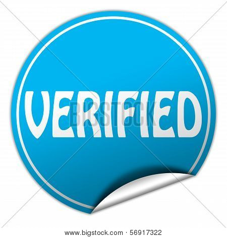 Verified Round Blue Sticker On White Background