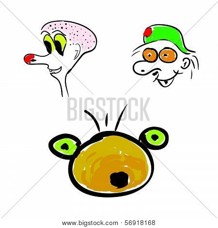 Funny Head Color Vector