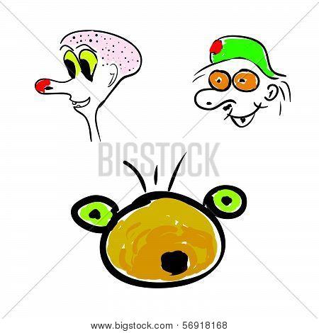 Funny Head Color Vector