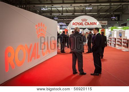 People Inside Royal Canin Stand At The International Dogs Exhibition Of Milan, Italy