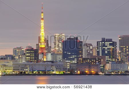 Aerial view Tokyo Tower cityscape sunset at dusk Japan