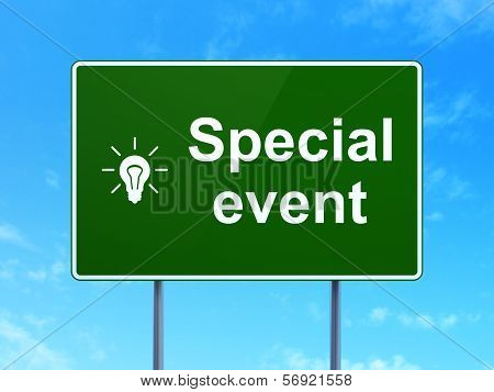 Finance concept: Special Event and Light Bulb on road sign background