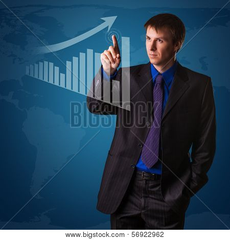 successful businessman on world map background