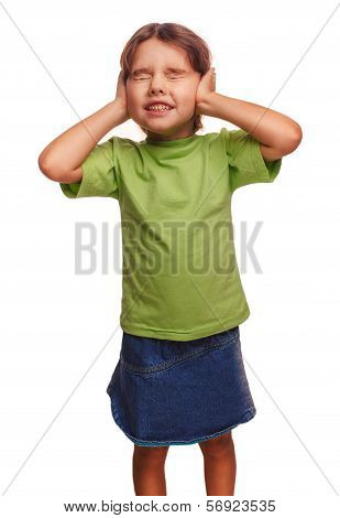 teen girl baby hands covering her ears and closed eyes fair