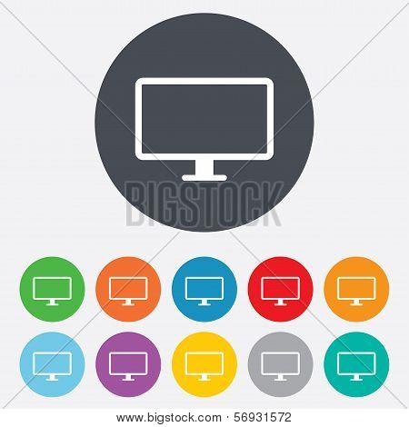Computer widescreen monitor sign icon.