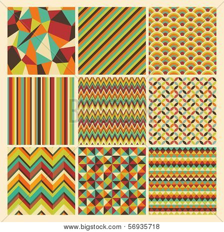 Seamless geometric hipster background set. Retro Vintage Seamless Patterns. Vector Illustration