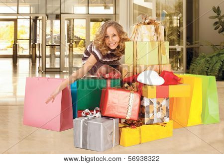 happy smiling woman shopping, background digitally added, work path
