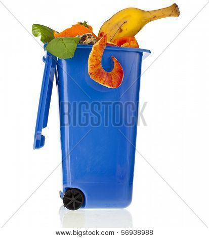 Color Trash bin full of kitchen scraps garbage isolated on white background
