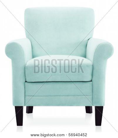 isolated blue armchair
