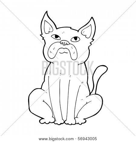 cartoon grumpy little dog