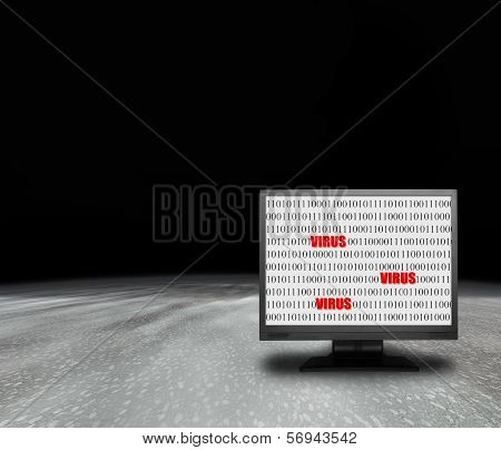Computer Monitor With Virus Screen