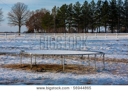 Trampoline Covered With Fresh Snow