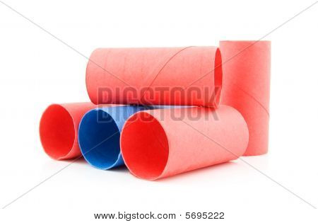 Colorful Empty Toilet Paper Rolls