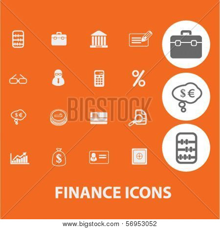 finance icons, signs set, vector