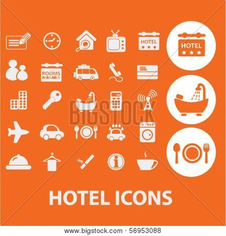hotel, motel icons, signs set, vector