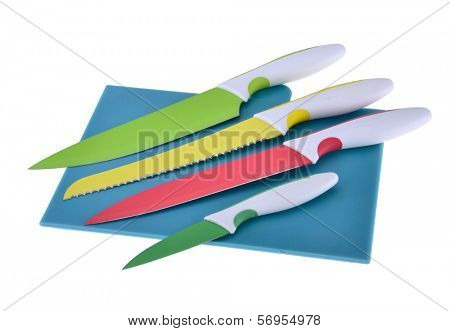 Ceramic knife and cutting board on white background