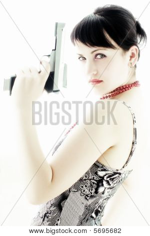 Girl In Red Necklace With Gun