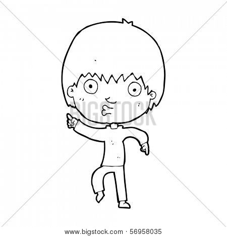 cartoon impressed boy pointing