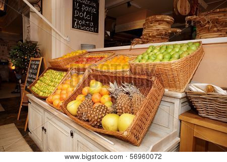 Shelf with fruits in an italian restaurant