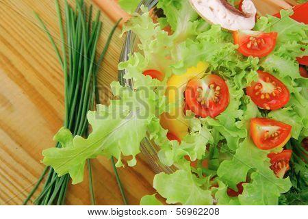 vegetables salad on wooden table