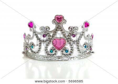A Child's Toy Princess Tiara On A White Background