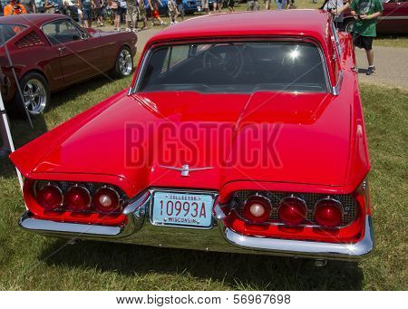 1960 Red Ford Thunderbird Hardtop Convertible Rear View