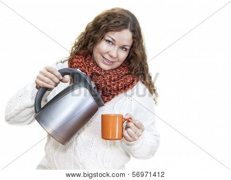 Pretty Woman Pouring Hot Water From The Kettle Into A Cup, Isolated On White Background